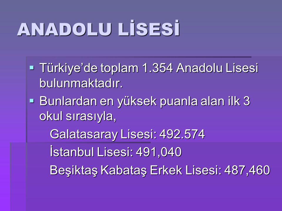  Türkiye'de toplam 1.354 Anadolu Lisesi bulunmaktadır.  Bunlardan en yüksek puanla alan ilk 3 okul sırasıyla, Galatasaray Lisesi: 492.574 Galatasara