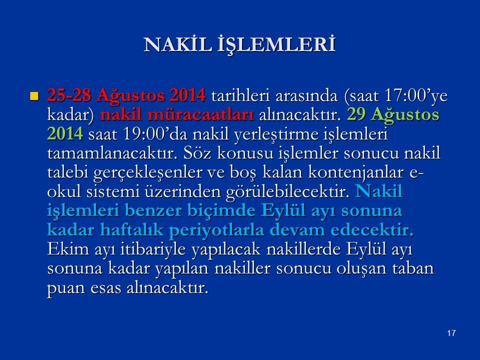 25-28 Ağustos 2014 tarihleri arasında (saat 17:00'ye kadar) nakil müracaatları alınacaktır. 29 Ağustos 2014 saat 19:00'da nakil yerleştirme işlemleri