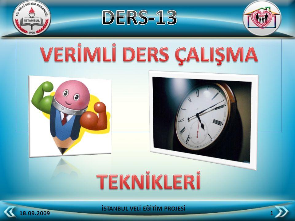 18.09.2009 1 İSTANBUL VELİ EĞİTİM PROJESİ