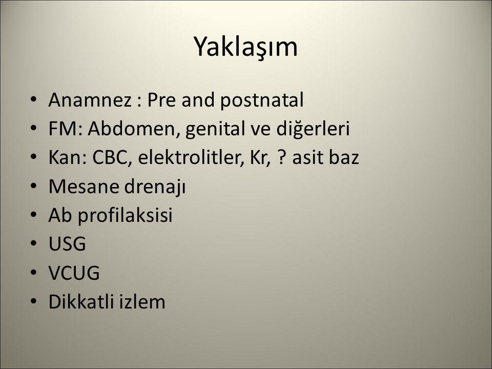 Yaklaşım Anamnez : Pre and postnatal FM: Abdomen, genital ve diğerleri Kan: CBC, elektrolitler, Kr, ? asit baz Mesane drenajı Ab profilaksisi USG VCUG