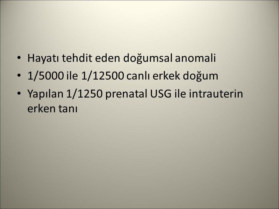 Hayatı tehdit eden doğumsal anomali 1/5000 ile 1/12500 canlı erkek doğum Yapılan 1/1250 prenatal USG ile intrauterin erken tanı