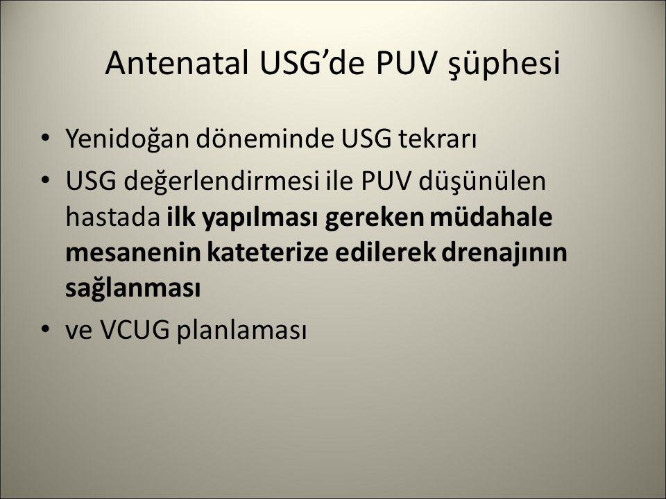 Antenatal USG'de PUV şüphesi Yenidoğan döneminde USG tekrarı USG değerlendirmesi ile PUV düşünülen hastada ilk yapılması gereken müdahale mesanenin ka
