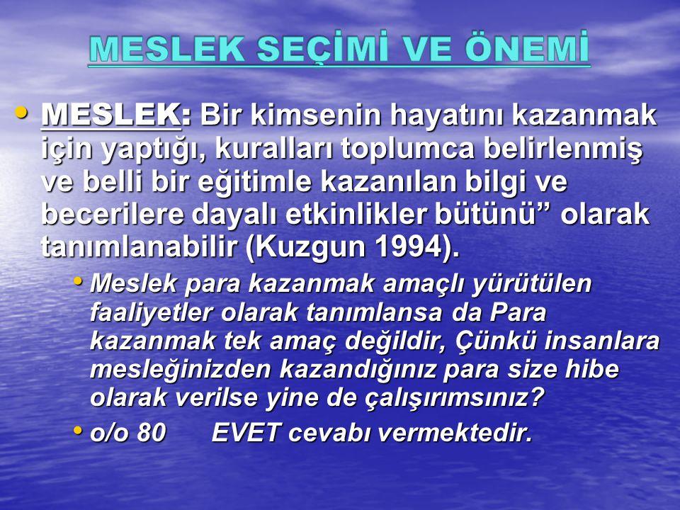MESLEK: Bir kimsenin hayatını kazanmak için yaptığı, kuralları toplumca belirlenmiş ve belli bir eğitimle kazanılan bilgi ve becerilere dayalı etkinlikler bütünü olarak tanımlanabilir (Kuzgun 1994).