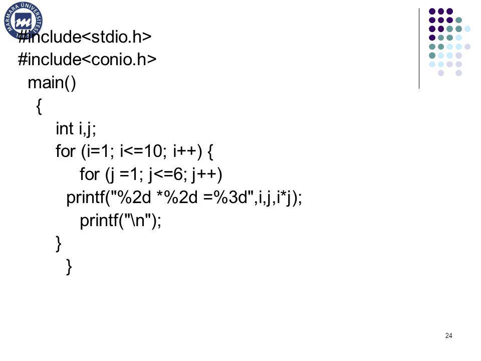 24 #include main() { int i,j; for (i=1; i<=10; i++) { for (j =1; j<=6; j++) printf( %2d *%2d =%3d ,i,j,i*j); printf( \n ); }
