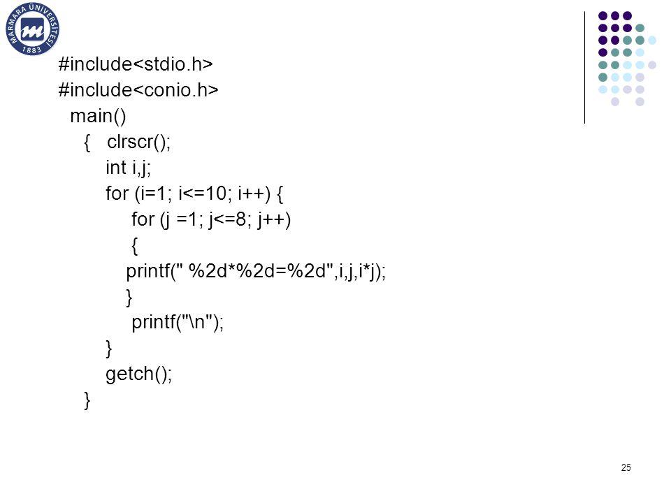 25 #include main() { clrscr(); int i,j; for (i=1; i<=10; i++) { for (j =1; j<=8; j++) { printf( %2d*%2d=%2d ,i,j,i*j); } printf( \n ); } getch(); }
