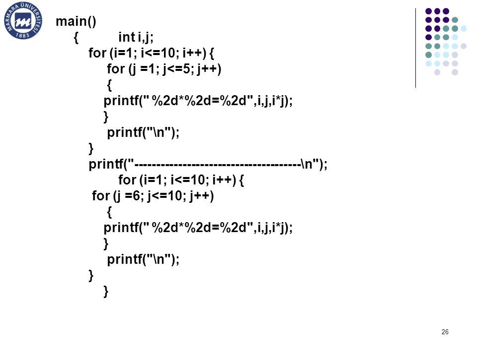 26 main() { int i,j; for (i=1; i<=10; i++) { for (j =1; j<=5; j++) { printf( %2d*%2d=%2d ,i,j,i*j); } printf( \n ); } printf( --------------------------------------\n ); for (i=1; i<=10; i++) { for (j =6; j<=10; j++) { printf( %2d*%2d=%2d ,i,j,i*j); } printf( \n ); }