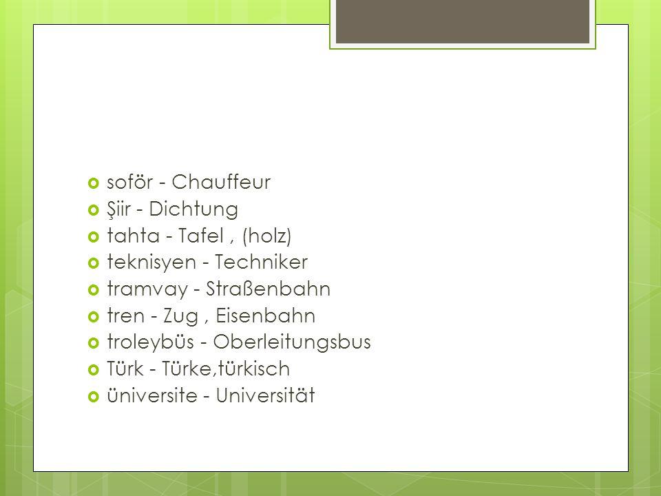  soför - Chauffeur  Şiir - Dichtung  tahta - Tafel, (holz)  teknisyen - Techniker  tramvay - Straßenbahn  tren - Zug, Eisenbahn  troleybüs - Ob