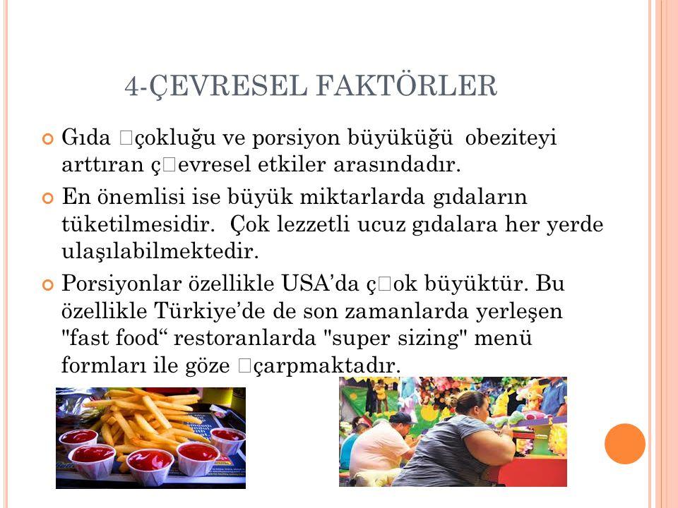 4-ÇEVRESEL FAKTÖRLER Gıda çokluğu ve porsiyon büyüküğü obeziteyi arttıran çevresel etkiler arasındadır. En önemlisi ise büyük miktarlarda gıdaların