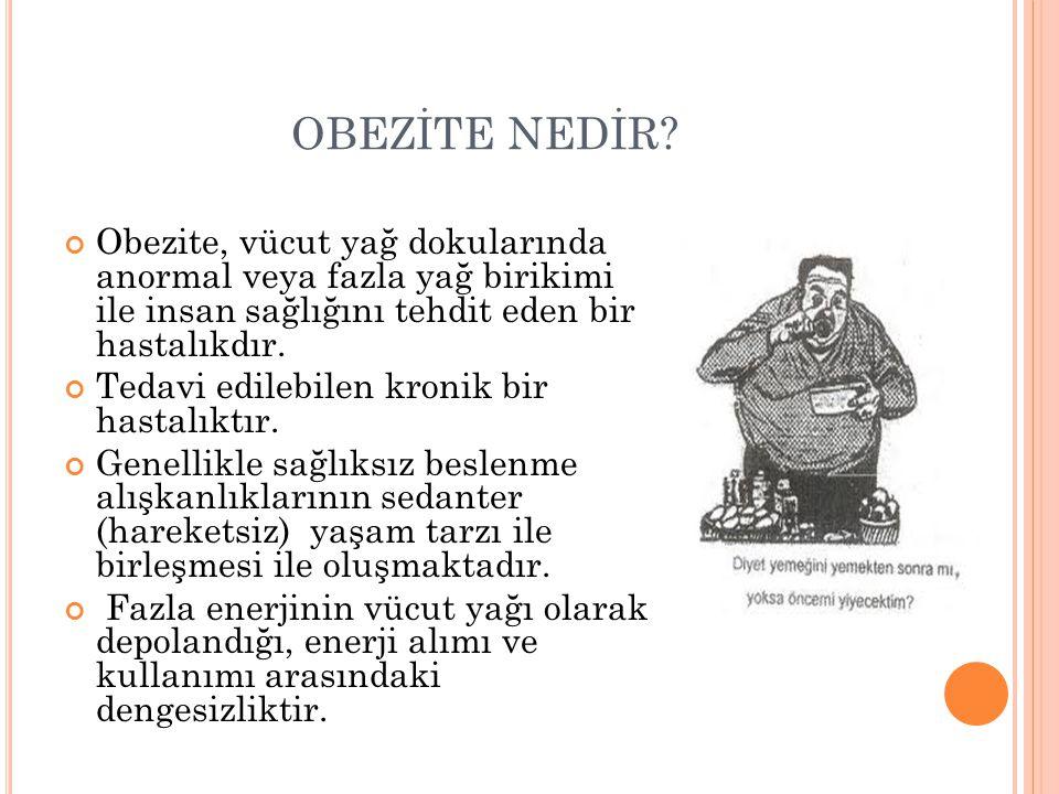 OBEZİTE NEDİR? Obezite, vücut yağ dokularında anormal veya fazla yağ birikimi ile insan sağlığını tehdit eden bir hastalıkdır. Tedavi edilebilen kroni