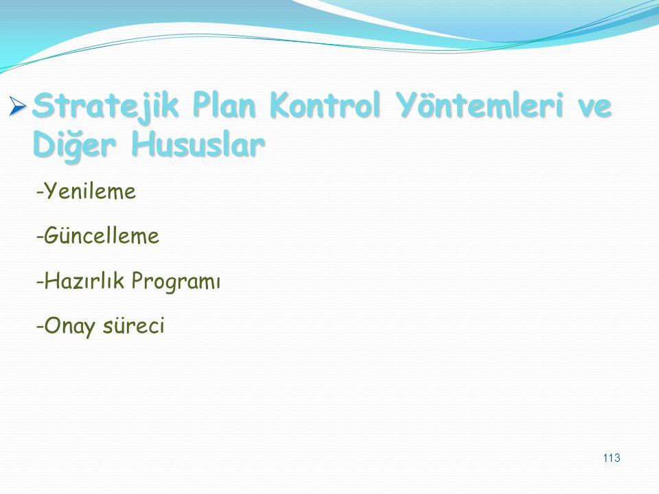  Stratejik Plan Kontrol Yöntemleri ve Diğer Hususlar -Yenileme -Güncelleme -Hazırlık Programı -Onay süreci 113