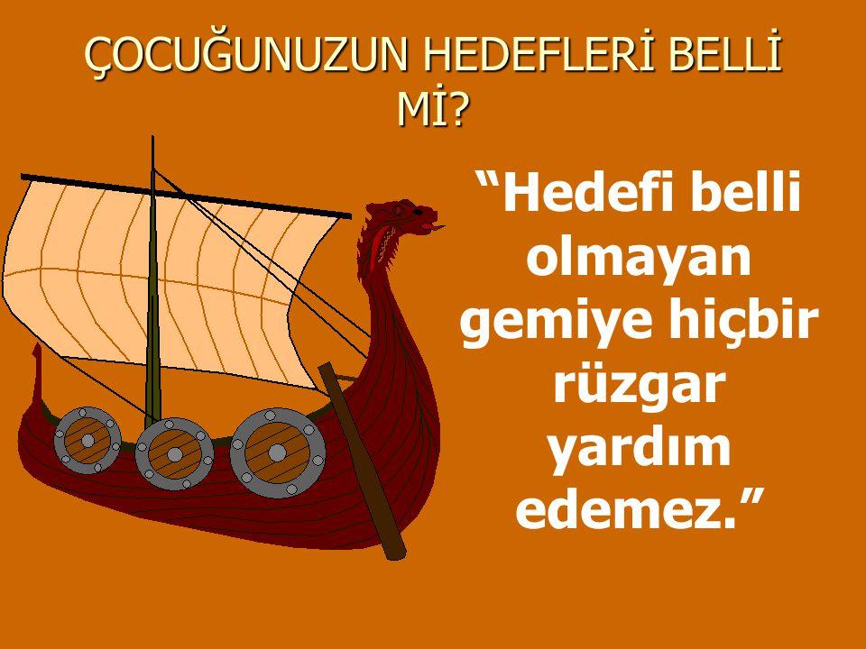 """ÇOCUĞUNUZUN HEDEFLERİ BELLİ Mİ? """"Hedefi belli olmayan gemiye hiçbir rüzgar yardım edemez."""""""