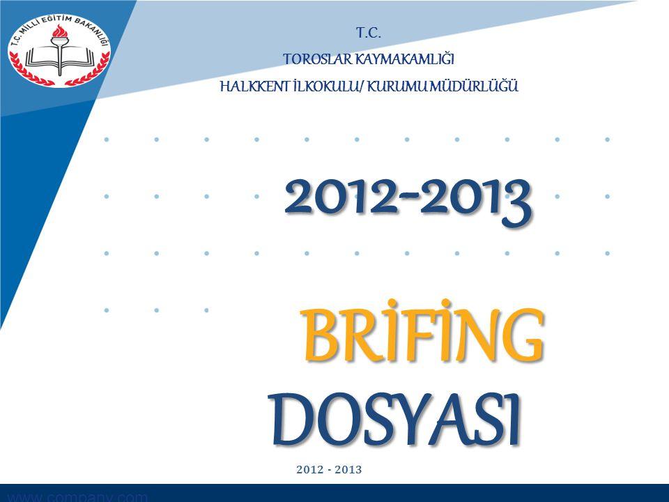 www.company.com T.C. TOROSLAR KAYMAKAMLIĞI HALKKENT İLKOKULU/ KURUMU MÜDÜRLÜĞÜ BRİFİNG DOSYASI 2012-2013 2012 - 2013