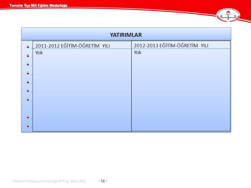 Toroslar İlçe Mili Eğitim Müdürlüğü YATIRIMLAR …........…........ …........…........ Halkkent İlkokulu Müdürlüğü Brifing 2012-2013 - 16 - 2011-2012 EĞ