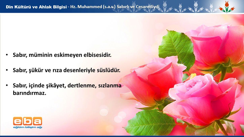 5 - Hz. Muhammed (s.a.v.) Sabırlı ve Cesaretliydi Sabır, müminin eskimeyen elbisesidir. Sabır, şükür ve rıza desenleriyle süslüdür. Sabır, içinde şikâ