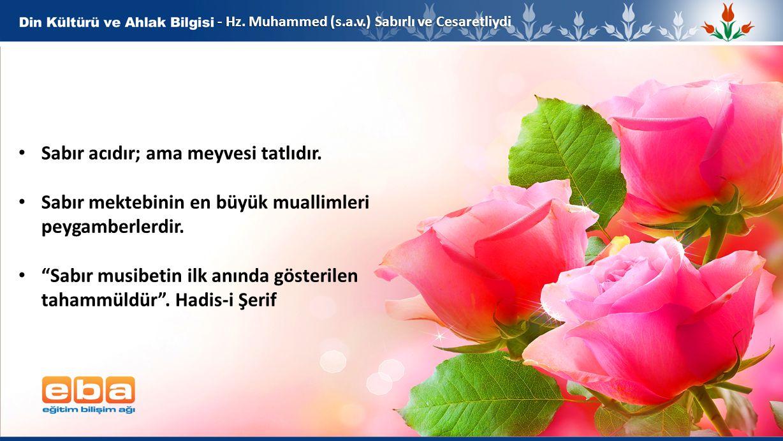 """6 - Hz. Muhammed (s.a.v.) Sabırlı ve Cesaretliydi Sabır acıdır; ama meyvesi tatlıdır. Sabır mektebinin en büyük muallimleri peygamberlerdir. """"Sabır mu"""
