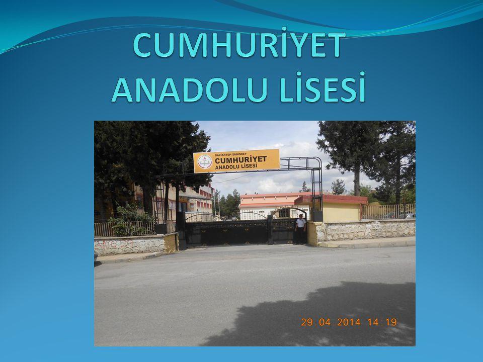 OKUL MÜDÜRÜ ÖMER YILDIZ İnternet Adresi: http://cumhuriyetal.meb.k12.tr/ Email: sahinbeycumhuriyetlisesi@hotmail.com Tlf No: 3367278 E Faxs: 3350669
