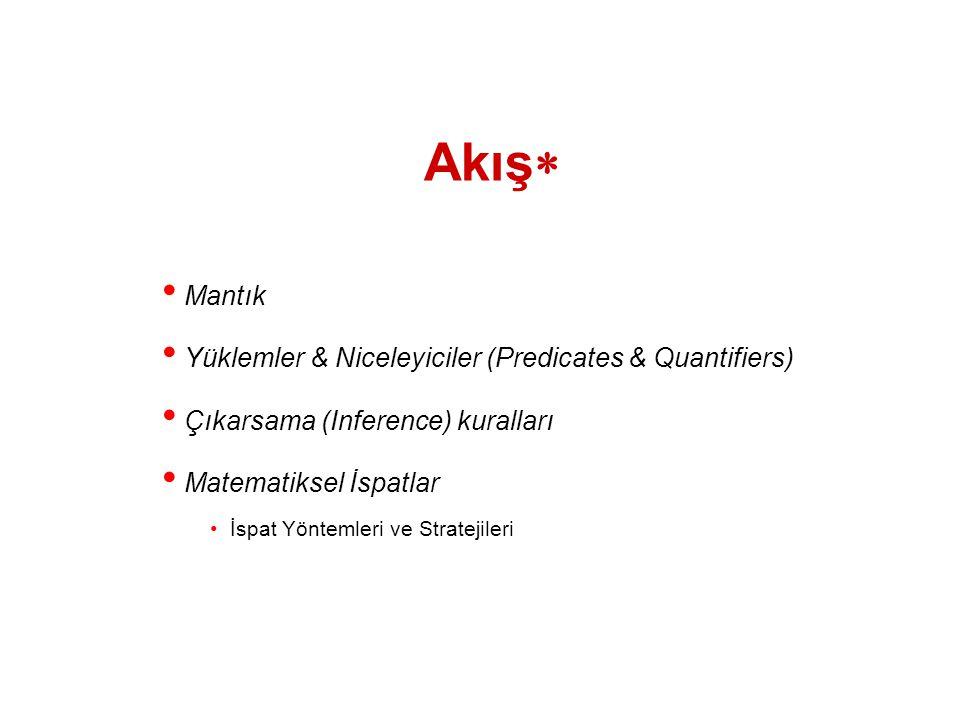 Akış  Mantık Yüklemler & Niceleyiciler (Predicates & Quantifiers) Çıkarsama (Inference) kuralları Matematiksel İspatlar İspat Yöntemleri ve Stratejil
