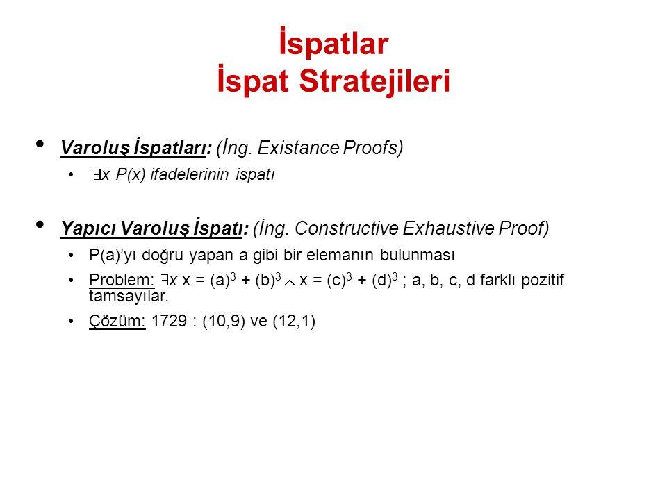 İspatlar İspat Stratejileri Varoluş İspatları: (İng. Existance Proofs)  x P(x) ifadelerinin ispatı Yapıcı Varoluş İspatı: (İng. Constructive Exhaust