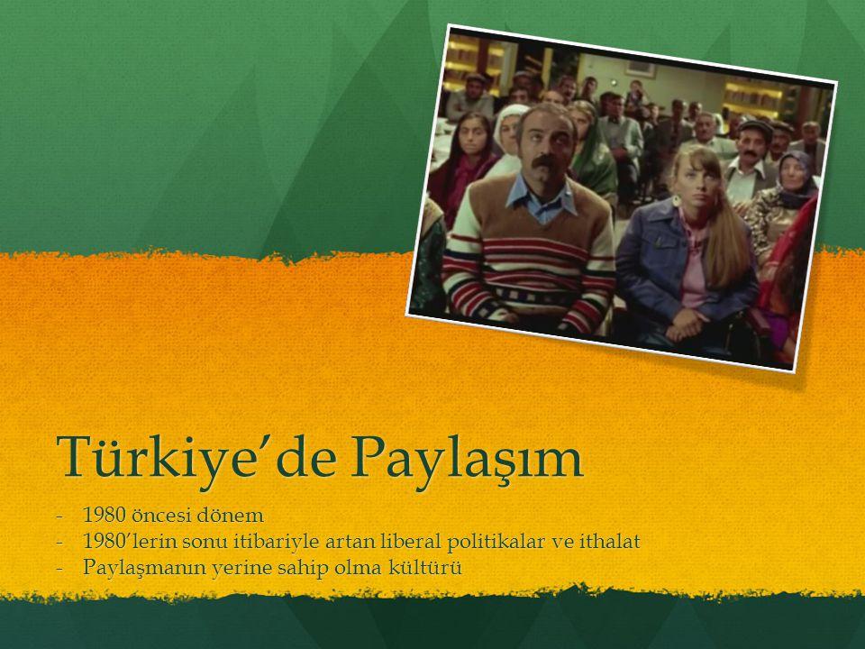 Türkiye'de Paylaşım -1980 öncesi dönem -1980'lerin sonu itibariyle artan liberal politikalar ve ithalat -Paylaşmanın yerine sahip olma kültürü