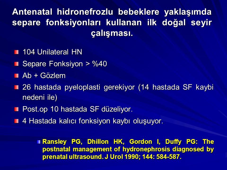 104 Unilateral HN Separe Fonksiyon > %40 Ab + Gözlem 26 hastada pyeloplasti gerekiyor (14 hastada SF kaybi nedeni ile) Post.op 10 hastada SF düzeliyor