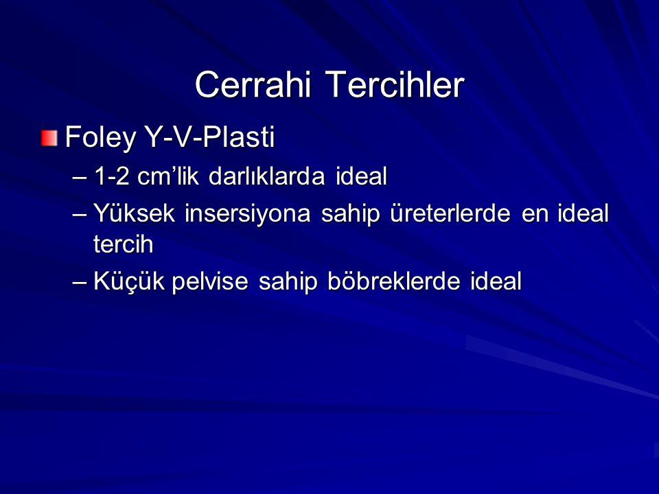 Cerrahi Tercihler Foley Y-V-Plasti –1-2 cm'lik darlıklarda ideal –Yüksek insersiyona sahip üreterlerde en ideal tercih –Küçük pelvise sahip böbreklerd