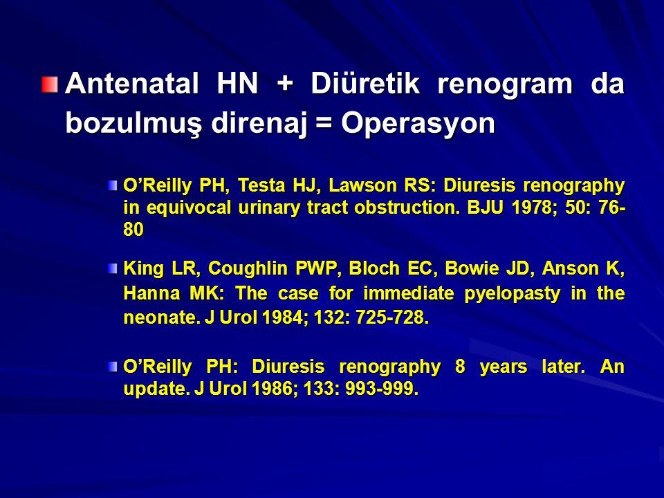 Boşaltım zamanlarına (T1/2) göre tanım –T1/2<10 dk obstrüksiyon yok –T1/2>20 dk obstrüksiyon –T1/2 10-20 dk şüpheli Kass EJ, Majd M, Belmann AB: Comparison of the diuretic renogram and the pressure perfusion study in children.