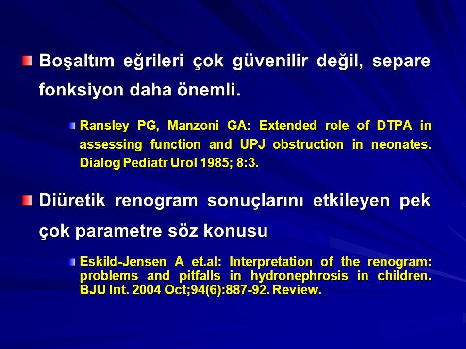 Boşaltım eğrileri çok güvenilir değil, separe fonksiyon daha önemli. Ransley PG, Manzoni GA: Extended role of DTPA in assessing function and UPJ obstr