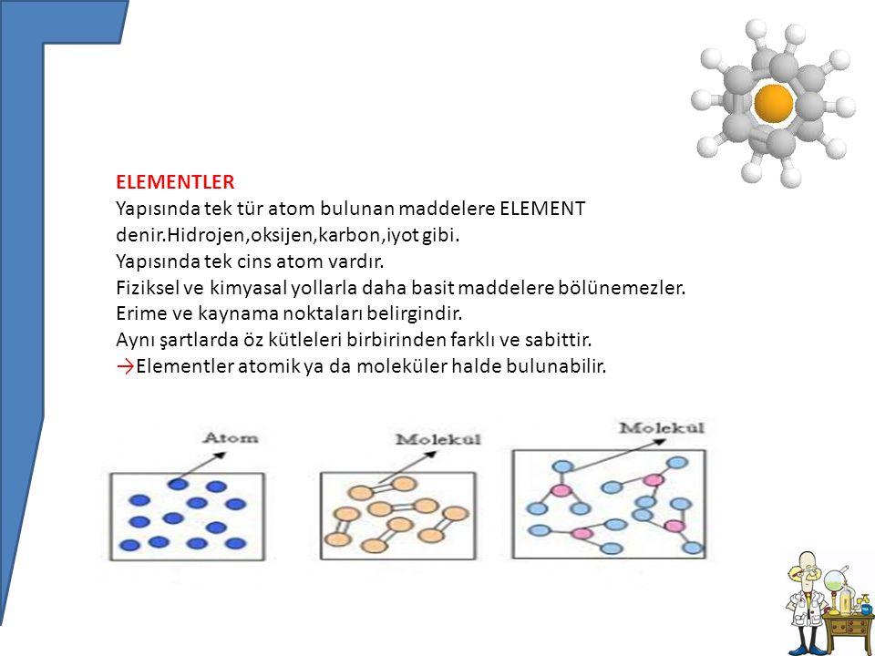 BİLEŞİK En az iki farklı element atomunun belirli oranlarda bir araya gelerek kendi özelliğini kaybedip yeni özellikler kazanması ile oluşan saf maddelere BİLEŞİK denir.