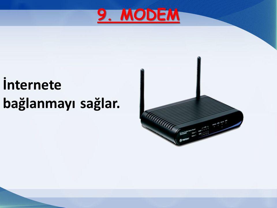 9. MODEM İnternete bağlanmayı sağlar.