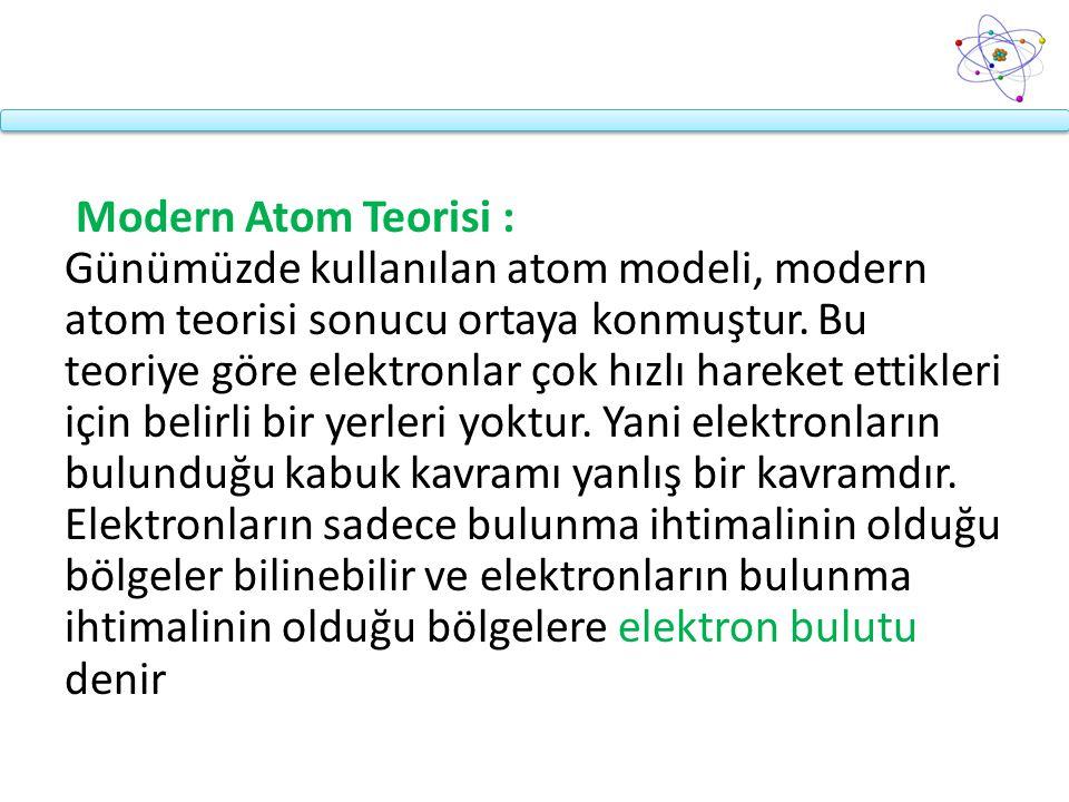 Modern Atom Teorisi : Günümüzde kullanılan atom modeli, modern atom teorisi sonucu ortaya konmuştur. Bu teoriye göre elektronlar çok hızlı hareket ett