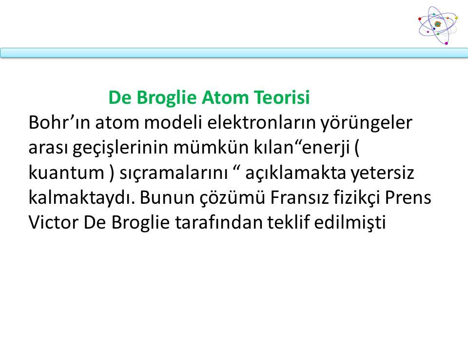 """De Broglie Atom Teorisi Bohr'ın atom modeli elektronların yörüngeler arası geçişlerinin mümkün kılan""""enerji ( kuantum ) sıçramalarını """" açıklamakta ye"""