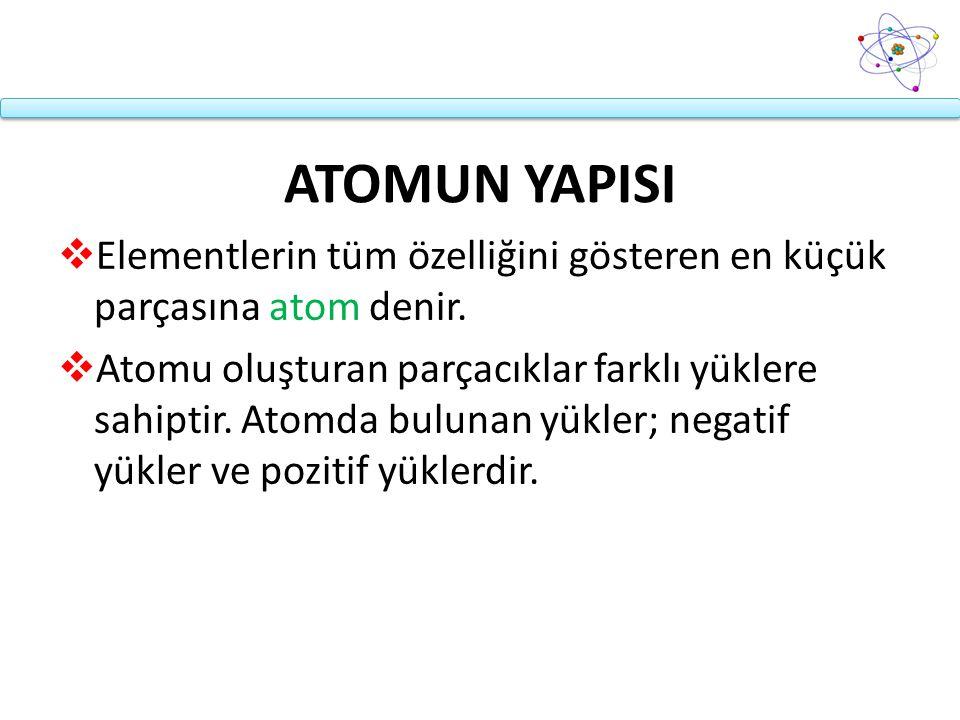 ATOMUN YAPISI  Elementlerin tüm özelliğini gösteren en küçük parçasına atom denir.  Atomu oluşturan parçacıklar farklı yüklere sahiptir. Atomda bulu
