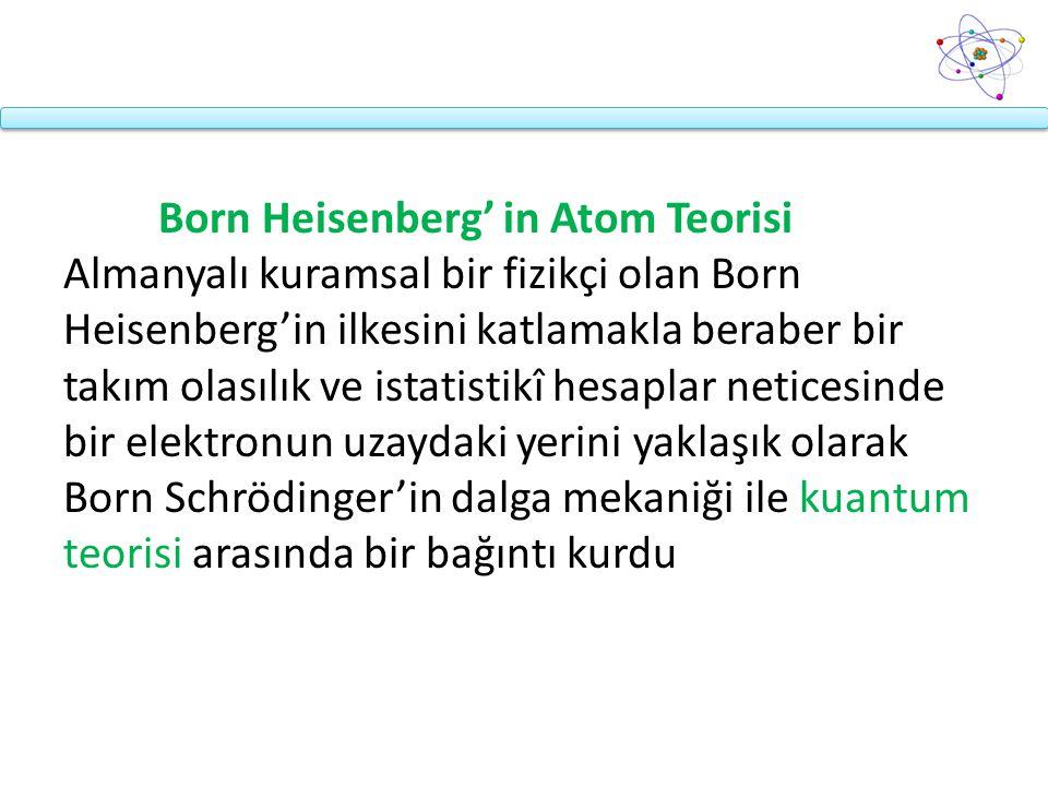 Born Heisenberg' in Atom Teorisi Almanyalı kuramsal bir fizikçi olan Born Heisenberg'in ilkesini katlamakla beraber bir takım olasılık ve istatistikî