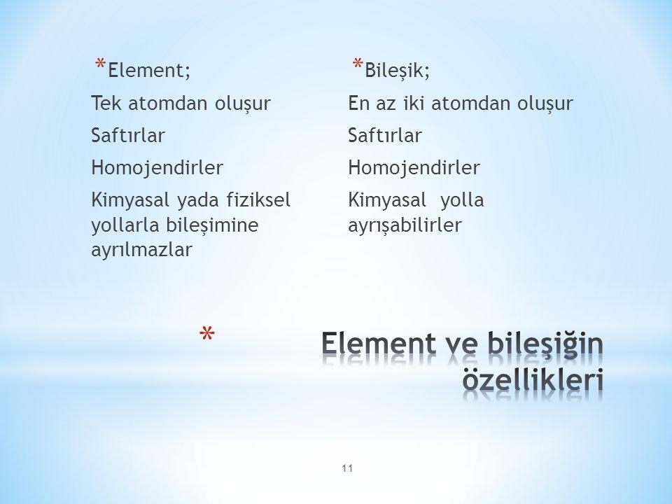 11 * Element; Tek atomdan oluşur Saftırlar Homojendirler Kimyasal yada fiziksel yollarla bileşimine ayrılmazlar * Bileşik; En az iki atomdan oluşur Saftırlar Homojendirler Kimyasal yolla ayrışabilirler
