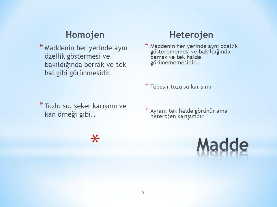 * Maddenin her yerinde aynı özellik göstermesi ve bakıldığında berrak ve tek hal gibi görünmesidir.