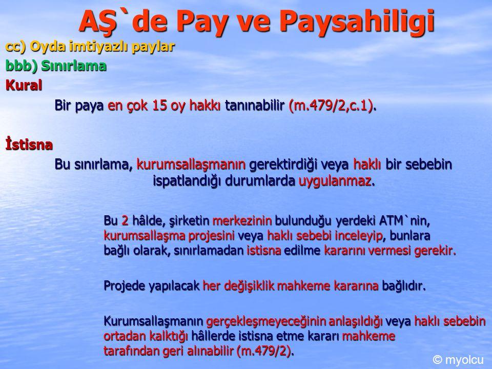 AŞ`de Pay ve Paysahiligi cc) Oyda imtiyazlı paylar bbb) Sınırlama Kural Bir paya en çok 15 oy hakkı tanınabilir (m.479/2,c.1). İstisna Bu sınırlama, k