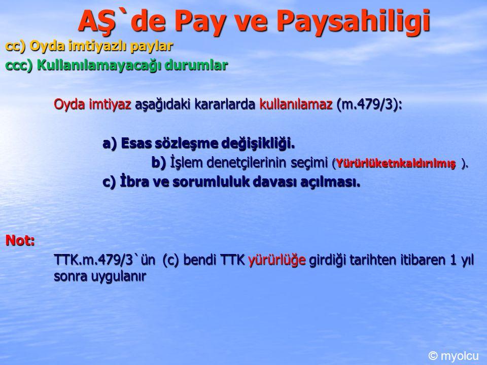 AŞ`de Pay ve Paysahiligi cc) Oyda imtiyazlı paylar ccc) Kullanılamayacağı durumlar Oyda imtiyaz aşağıdaki kararlarda kullanılamaz (m.479/3): a) Esas sözleşme değişikliği.