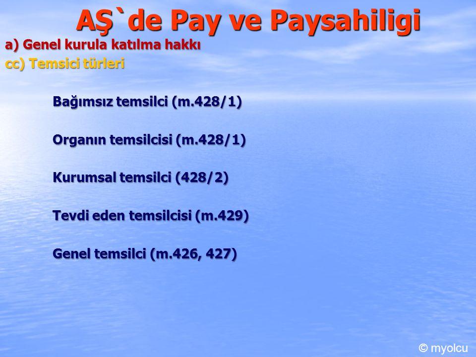 AŞ`de Pay ve Paysahiligi a) Genel kurula katılma hakkı cc) Temsici türleri Bağımsız temsilci (m.428/1) Organın temsilcisi (m.428/1) Kurumsal temsilci (428/2) Tevdi eden temsilcisi (m.429) Genel temsilci (m.426, 427) © myolcu