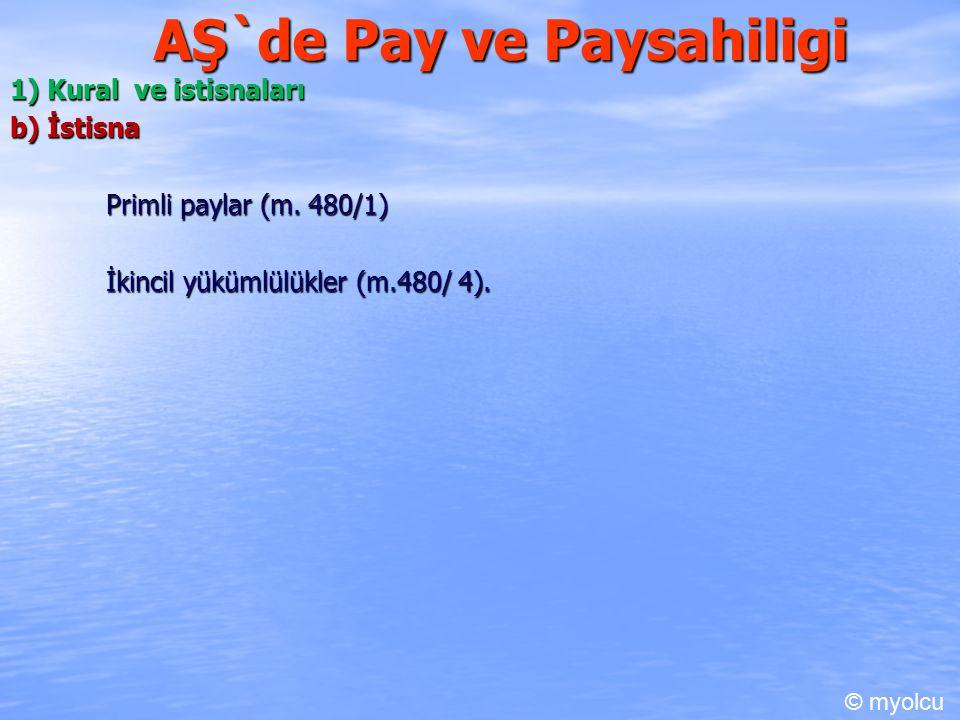 AŞ`de Pay ve Paysahiligi 1) Kural ve istisnaları b) İstisna Primli paylar (m. 480/1) İkincil yükümlülükler (m.480/ 4). © myolcu
