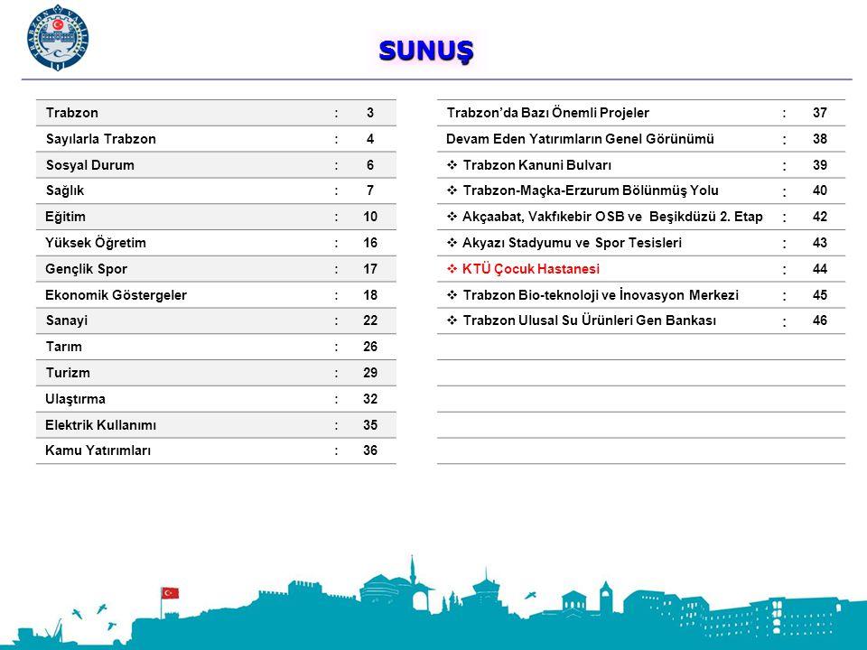 SUNUŞ SUNUŞ Trabzon:3Trabzon'da Bazı Önemli Projeler:37 Sayılarla Trabzon:4Devam Eden Yatırımların Genel Görünümü : 38 Sosyal Durum:6  Trabzon Kanuni