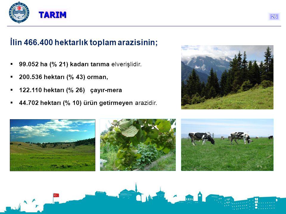 TARIM İlin 466.400 hektarlık toplam arazisinin;  99.052 ha (% 21) kadarı tarıma elverişlidir.  200.536 hektarı (% 43) orman,  122.110 hektarı (% 26