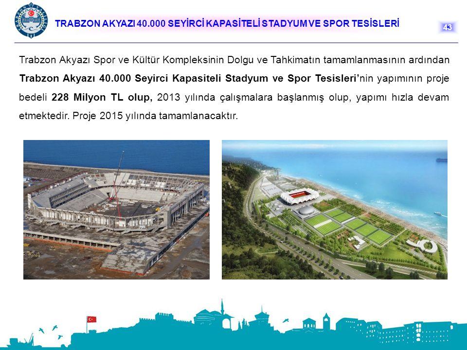 TRABZON AKYAZI 40.000 SEYİRCİ KAPASİTELİ STADYUM VE SPOR TESİSLERİ Trabzon Akyazı Spor ve Kültür Kompleksinin Dolgu ve Tahkimatın tamamlanmasının ardı