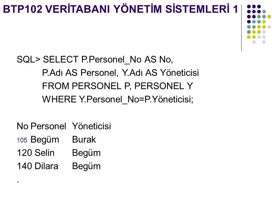 BTP102 VERİTABANI YÖNETİM SİSTEMLERİ 1 SQL> SELECT P.Personel_No AS No, P.Adı AS Personel, Y.Adı AS Yöneticisi FROM PERSONEL P, PERSONEL Y WHERE Y.Per
