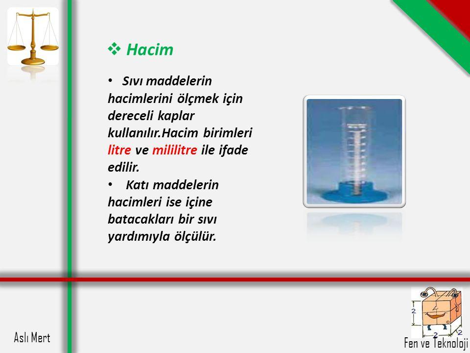 Aslı Mert Fen ve Teknoloji  Hacim Sıvı maddelerin hacimlerini ölçmek için dereceli kaplar kullanılır.Hacim birimleri litre ve mililitre ile ifade edi