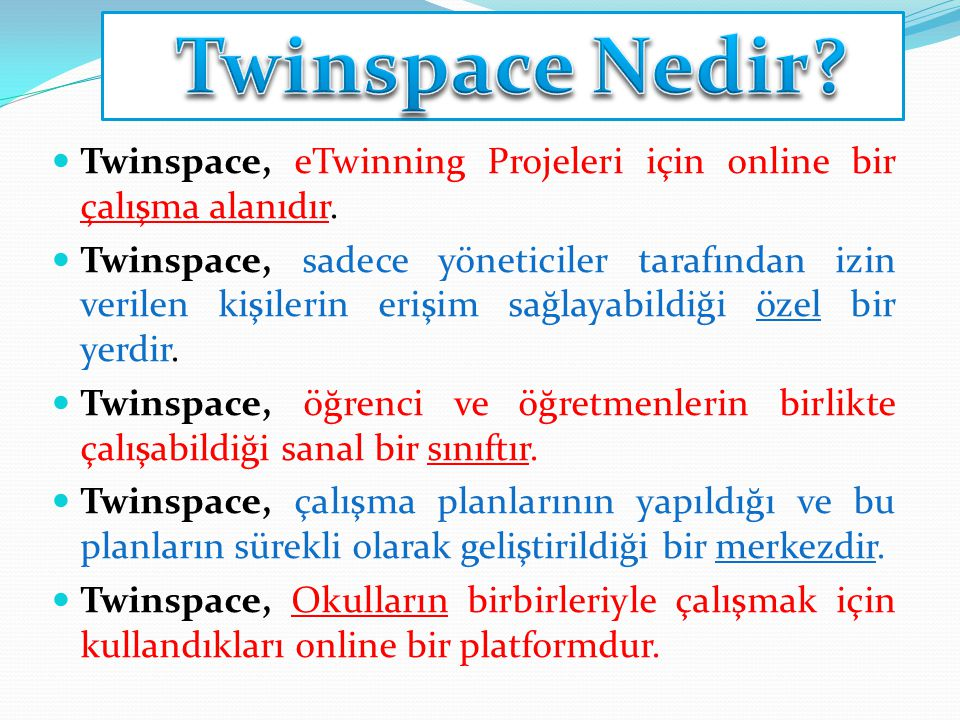 Twinspace, eTwinning Projeleri için online bir çalışma alanıdır. Twinspace, sadece yöneticiler tarafından izin verilen kişilerin erişim sağlayabildiği