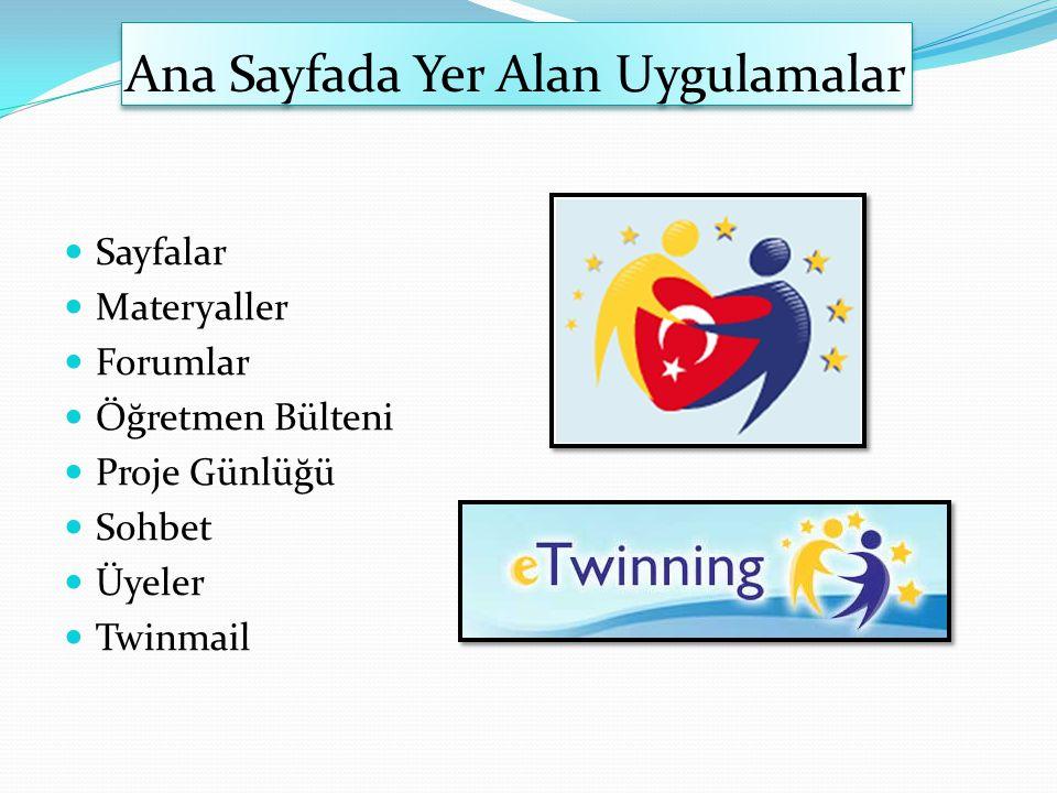 Ana Sayfada Yer Alan Uygulamalar Sayfalar Materyaller Forumlar Öğretmen Bülteni Proje Günlüğü Sohbet Üyeler Twinmail