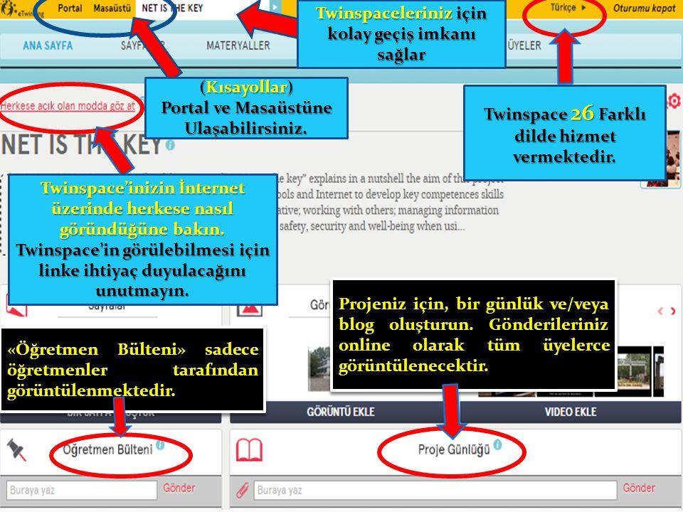 Shortcuts of Portal and Teachers' desktop (Kısayollar) Portal ve Masaüstüne Ulaşabilirsiniz. Twinspaceleriniz için kolay geçiş imkanı sağlar Twinspace