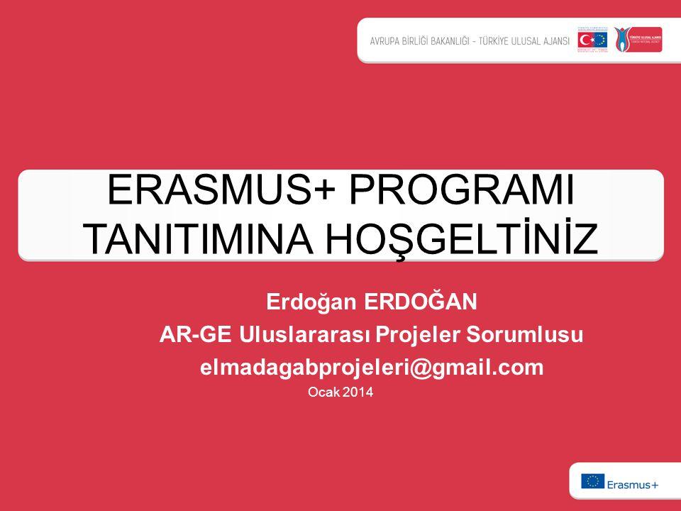 ERASMUS+ PROGRAMI TANITIMINA HOŞGELTİNİZ Erdoğan ERDOĞAN AR-GE Uluslararası Projeler Sorumlusu elmadagabprojeleri@gmail.com Ocak 2014