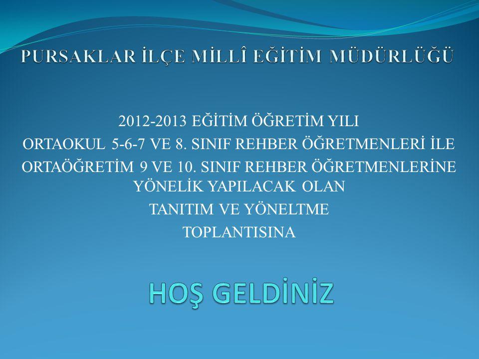 2012-2013 EĞİTİM ÖĞRETİM YILI ORTAOKUL 5-6-7 VE 8. SINIF REHBER ÖĞRETMENLERİ İLE ORTAÖĞRETİM 9 VE 10. SINIF REHBER ÖĞRETMENLERİNE YÖNELİK YAPILACAK OL