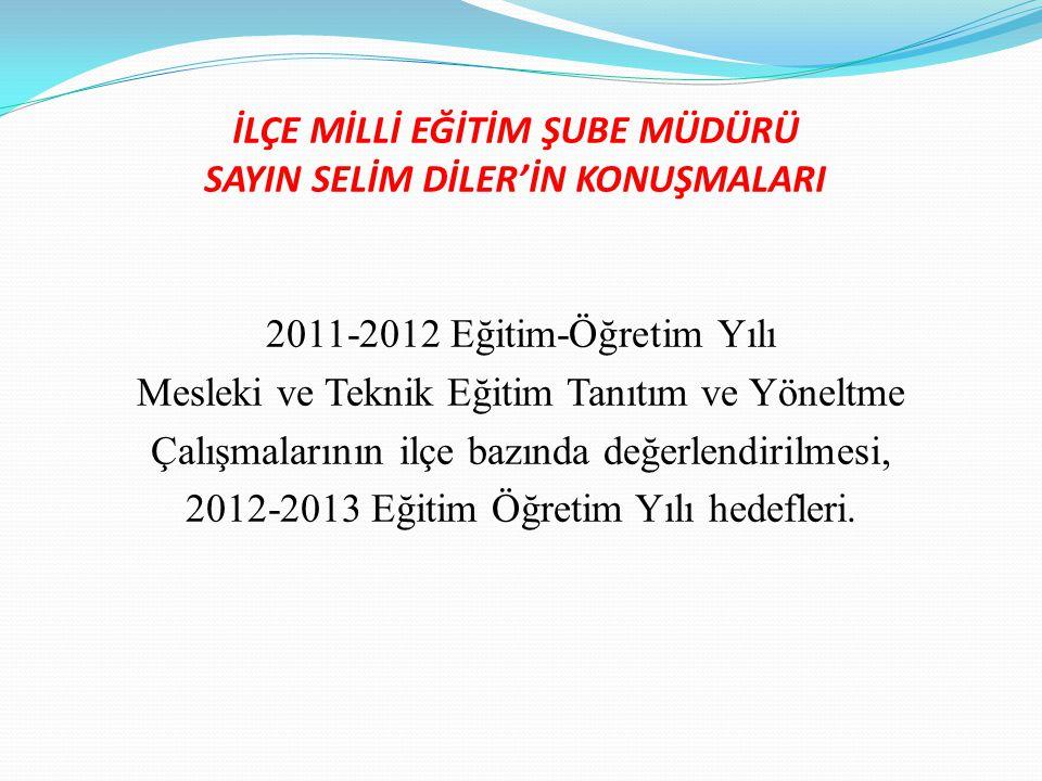 İLÇE MİLLİ EĞİTİM ŞUBE MÜDÜRÜ SAYIN SELİM DİLER'İN KONUŞMALARI 2011-2012 Eğitim-Öğretim Yılı Mesleki ve Teknik Eğitim Tanıtım ve Yöneltme Çalışmaların